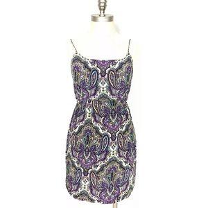 J Crew Paisley Dress Blouson 100% Silk Lined SZ 2